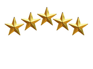 Golden Stars rating Isolated on White Background This has clipping path.