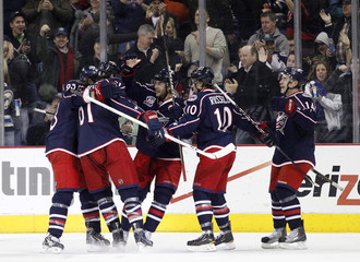 Columbus Blue Jackets' Brassard celebrates after scoring against the Colorado Avalanche in Columbus
