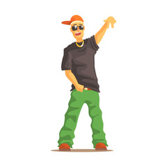 Rapper man dressed in rappers style clothing, colorful character vector Illustration