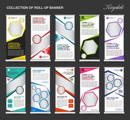 Collection of colorful Roll Up Banner stand template set, business flyer, advertisement