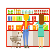 Woman shopping at supermarket and buying products. Shopping in grocery store, supermarket or retail shop. Colorful character vector Illustration