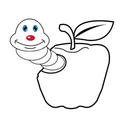 larva worm cartoon  coloring page for toddle