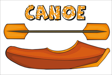 Canoe.  Cartoon style. Clip art for children.
