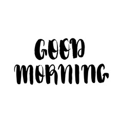 Good Morning lettering text isolated on a white background. Vector illustration