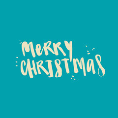Wet brush watercolor lettering Merry Christmas.