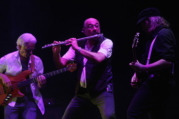 Ian Anderson, flautist and vocalist of the classic rock band Jethro Tull, performs on stage during a concert in Valencia