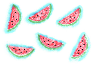 Watermelon slices painted in watercolor on a white background