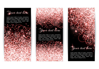 Set of vertical banners with dazzling pink lights. Christmas decoration on a black backdrop.