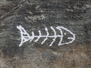 Fish skeleton picture on the stone