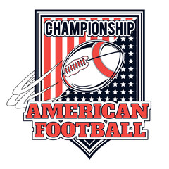 Vector logo american football championship for design, print and internet on white background