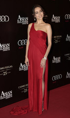 Hong Kong actress Mandy Lieu arrives for the Asian Film Awards in Hong Kong