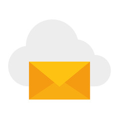 cloud computing with envelope mail isolated icon vector illustration design