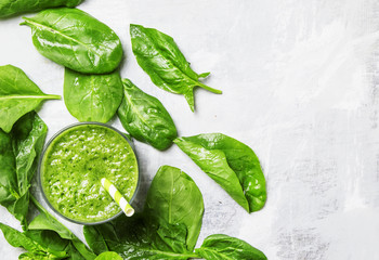 Spinach smoothies, food background, top view