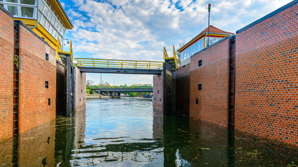 lock gates of the water dam in river