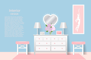 Chest of drawers. The interior of the room. Design, banner, brochure, poster, advertising. Vector illustration.