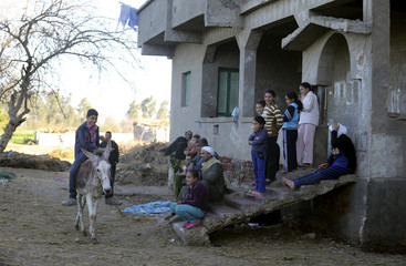 Fourteen-year-old Ahmed Ayman, who lives in a small village in the North of Egypt's Nile Delta and trains his donkey to jump obstacles, walks with the donkey near his house in Mansoura