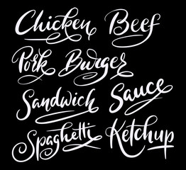 Beef and sandwich hand written typography. Good use for logotype, symbol, cover label, product, brand, poster title or any graphic design you want. Easy to use or change color