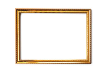 Golden photo frame on white background.