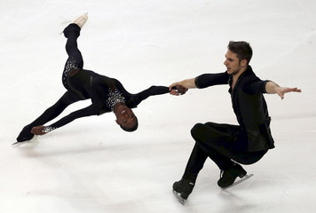 Vanessa James and Morgan Cipres of France compete during the pairs short programme at the ISU Bompard Trophy figure skating competition in Bordeaux, southwestern France