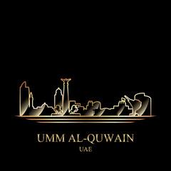Gold silhouette of Umm al-Quwain on black background