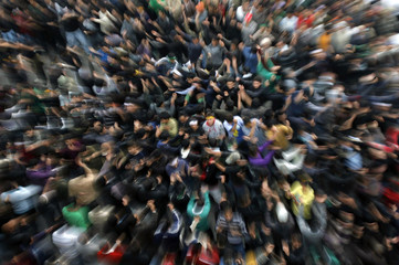 Shi'ite Muslim beat their chests during an Ashura procession in Jammu