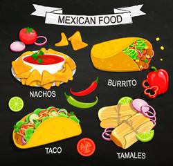 Concept of Mexican Food menu.