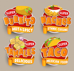 Set od traditional Mexican food logos, stickers.