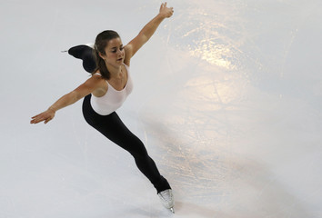 Veronik Mallet of Canada practices during a training session before the ISU Bompard Trophy Figure Skating competition in Bordeaux