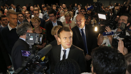 Former French Economy Minister Emmanuel Macron attends a political rally for his political movement, En Marche !, or Forward !, in Strasbourg