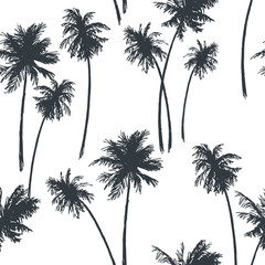 Vector seamless pattern with palms isolated on white. Summer vacation. Hand drawn tropical illustration in sketch style