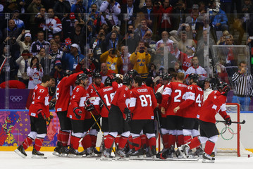 Fans look on as Canada's players celebrate defeating Sweden in their men's ice hockey gold medal game at the Sochi 2014 Winter Olympic Games