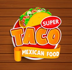 Taco label, logo, sticker.