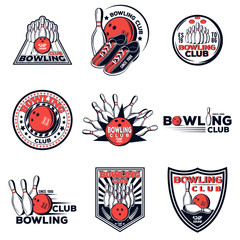 Vector set of bowling club logos for your design, print and web on a white background
