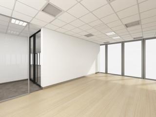 empty room in office corporate, 3d render interior design, mock up illustration