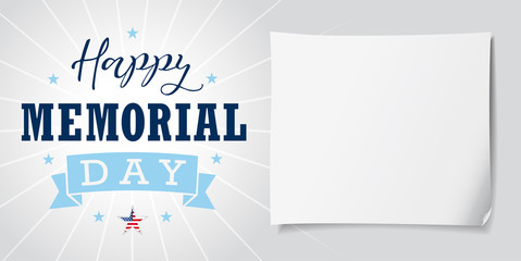 Happy Memorial Day USA lettering banner. Happy Memorial Day USA hand lettering vector card, star, ribbon, stripes and paper on light background