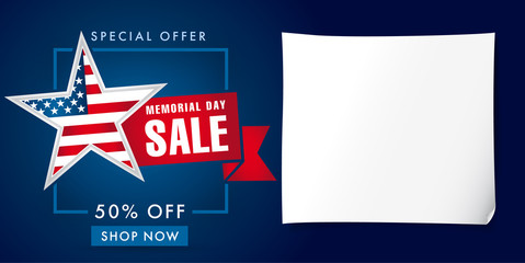 Memorial day sale banner template. Happy Memorial Day Sale discount labels for web banner special offer vector illustration