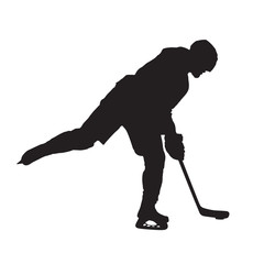 Ice hockey player shooting, vector isolated silhouette