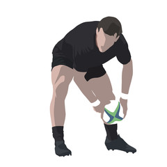 Rugby player passing ball, abstract vector illustration