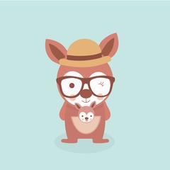 Cute stylized cartoon kangaroo illustration.