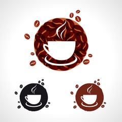 Coffee cup cafe icons. Coffee shop logo, badge and label vector design elements set. Coffee time, drink and think