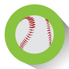 Isolated baseball ball on a colored button, Vector illustration