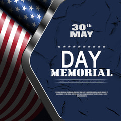 Memorial Day vector poster with text, shadow, glow on the dark blue background with metal frame, american flag and pattern of cracked paint.