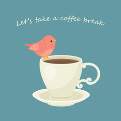 Cup of coffee with little bird