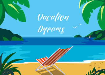 Summer seaside landscape. Blue sea scenic view poster. Freehand drawn cartoon retro style. Fancy letters Vacation Dreams. Season leisure banner. Outdoors vector Illustration of recreation on seashore