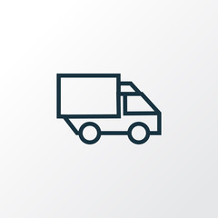 Lorry Outline Symbol. Premium Quality Isolated Camion Element In Trendy Style.