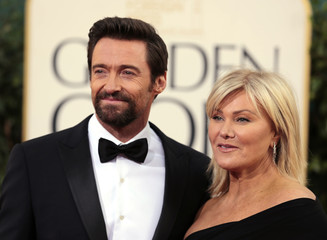 "Actor Hugh Jackman of the film ""Les Miserables"" and his wife Deborra-Lee Furness at the 70th annual Golden Globe Awards in Beverly Hills"