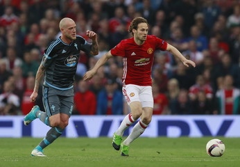 Manchester United's Daley Blind in action with Celta Vigo's John Guidetti