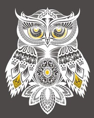 Owl decorative  design for  T-shirt Print