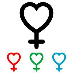 Icono plano corazon simbolo femenino varios colores