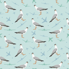 Vector seamless pattern with seagull and plane. Stylish background for fabric, textile, kitchen design or other surfaces
